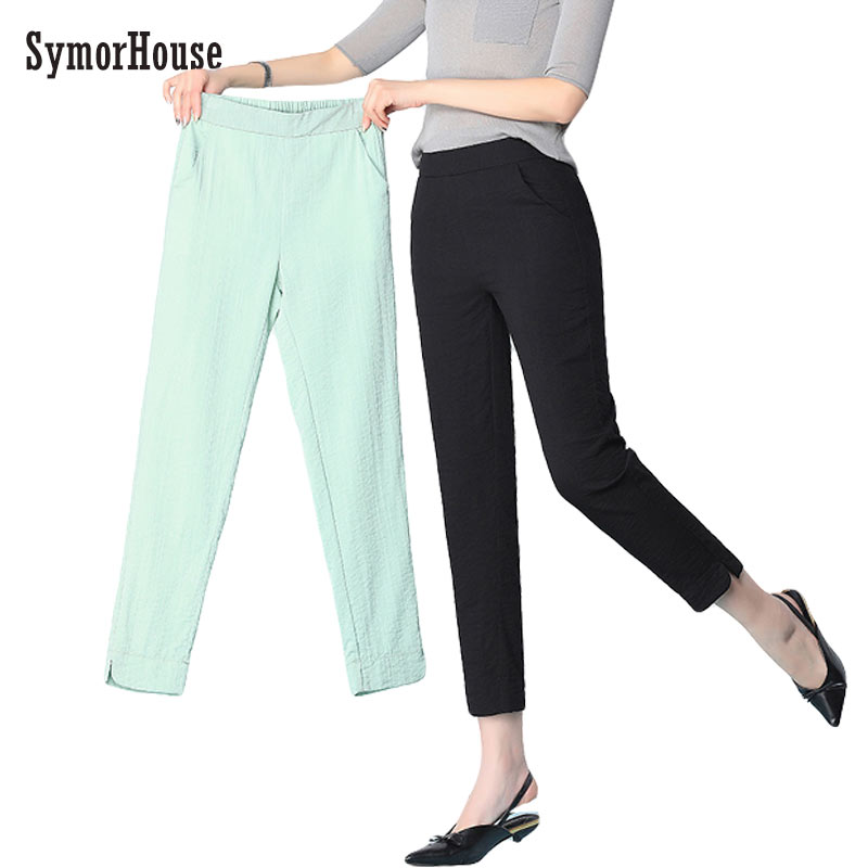 SymorHouse Cotton Linen   Pants   for Women Trousers Casual Solid Color Women pencil   Pants   Plus Size thin   pants     Capri   Women's Summer