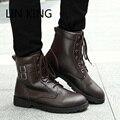 LIN REI Homem Cowboy Botas Ao Ar Livre Botas de Combate Militares Nova Alta Top Lace Up Quente Botas de Homens De Motocicleta Retro Fivela Sapatos Martin