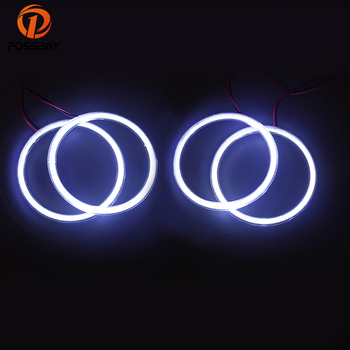POSSBAY 4Pcs COB Angel Eyes Auto Halo Rings Car Headlights 105mm Lampshades White Running Light for BMW 3 Series E46 Fog Lamps