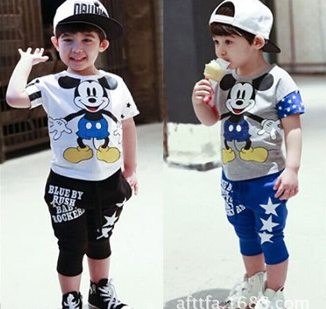 Clothing set Children's set  cotton Short t shirt 100% Mickey baby boy set 2015 boys sport suit clothing clothes Free Shipping