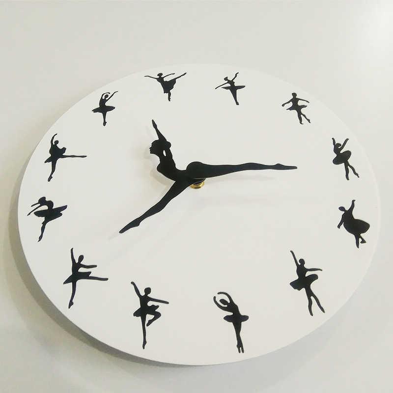 Diy балетные кварцевые настенные часы акриловые часы Современные horloge цифровые часы домашний декор для гостиной наклейки для фона дивана