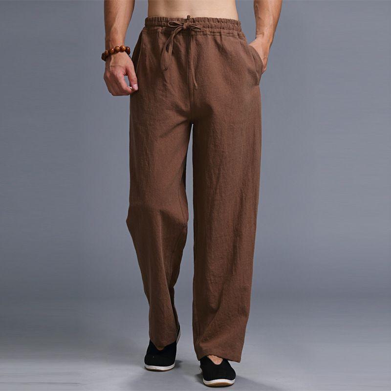 Chinese Style Male Autumn Vintage Linen Harem Pants Men Loose Wide Leg Casual Trousers Elastic Waist Kung Fu Sweatpants 100806