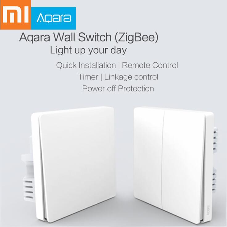 Xiaomi Aqara Switch Smart Light Control ZiGBee wifi wireless Wall Switch Via Smartphone Remote Smart Home work with mijia App