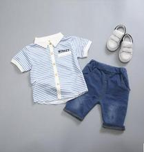 2017 Summer child garments striped lapel boy T-shirt kids brief sleeve garments set child lady garments set SY-162004
