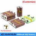 Аккумулятор 18650 hg2 3000 мАч 20 А для 14 4 В 16 8 в  отвертка  сварные полоски для пайки  полоски для пайки  4S2P 16 8 в  аккумулятор (по индивидуальному зак...