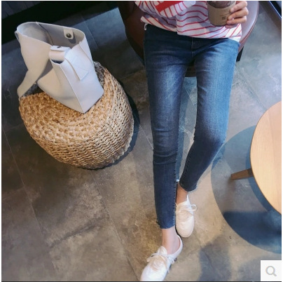 HOT SALE!! 2018 New Womens Slim Stretch Skinny Jeans Blue Water Washed Jeans Capris Mid-waisted Pencil Pants Big Size 26~33