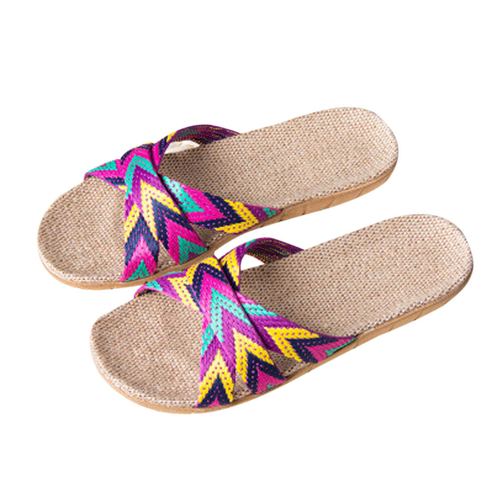 Slippers Bohemian Rainbow Stripes Style Slippers Linen Soft and Breathable Slippers WholesaleSlippers Bohemian Rainbow Stripes Style Slippers Linen Soft and Breathable Slippers Wholesale