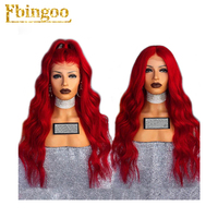 Ebingoo 26 Inch High Temperature Fiber Peruca Long Body Wave Red Synthetic Lace Front Wig Women Costume For Drag Queen