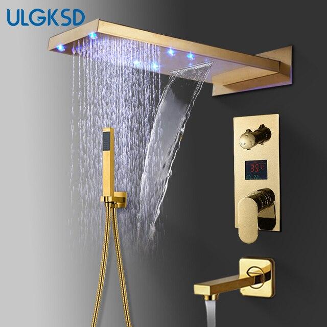 ULGKSD banyo duş musluk LED altın pirinç şelale yağmur biçimli duş kafa duvara monte sıcak ve soğuk su musluk bataryası