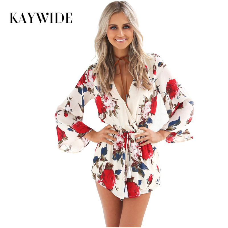 Kaywide Floral Print Summer Rompers Womens Jumpsuit Flare Sleeve Pleated Waist Playsuit V Neck Short Sexy