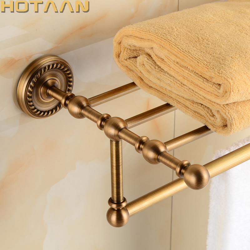 FREE SHIPPING, Solid Brass Bathroom Towel Rack, Antique Brass Towel Holder,50cm Corner Bath Towel Shelf Accessories,YT-12201-50 free shipping bathroom towel holder zinc alloy antique brass towel rack 60cm bath towel rack yt 4011