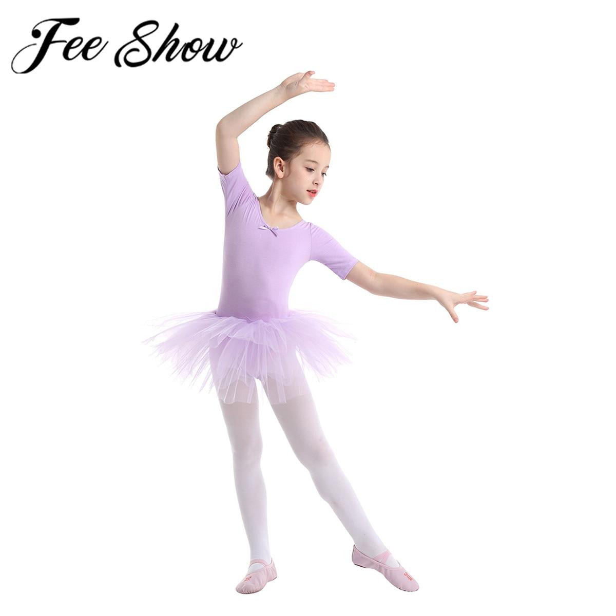 Girls Lyrical Ballet Dance Dress Kids Leotard Tutu Dancewear Party Fancy Costume