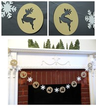 Christmas Decoration for Home Elks&Snowflake Garlands Hanging Merry Xmas  Festival Trees