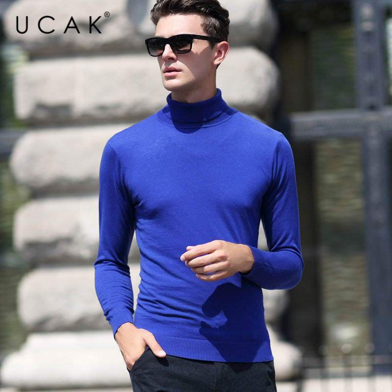 UCAK Brand Sweater Men Classic Casual Pull Homme Pure Merino Wool Pullover Men Autumn Winter Turtleneck Cashmere Sweaters U3004