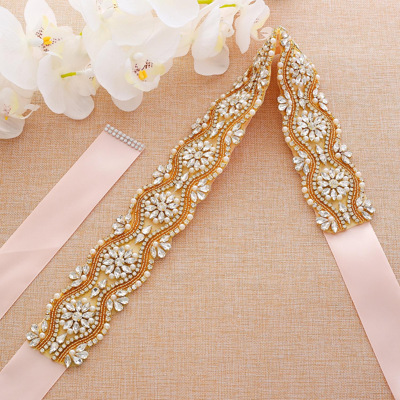Rhinestones Bridal Belt Beads Pearls Bridal Dress Sash Gold Crystal Wedding Belt For Bridesmaids Dresses A201G