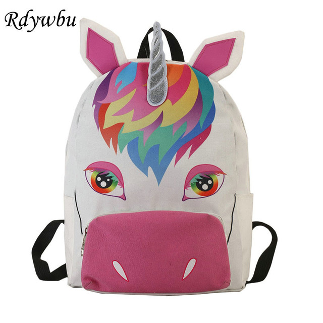 Rdywbu Cute 3d Unicorn Printing Backpack Personality Children School Book Bag S Animal Canvas Travel