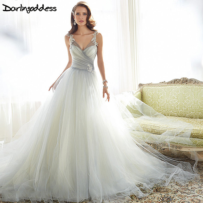 real picture simple beach wedding dress sexy lace tulle