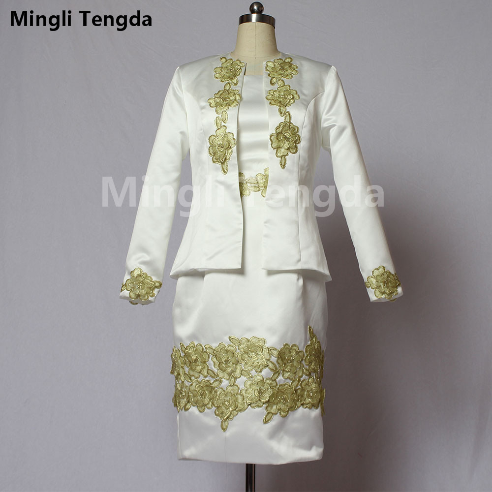 Mingli Tengda 2018 Satin Mother of the Bride Dresses with Long Sleeve Jacket Appliques Mother of the Bride Dress Plus Size kurti