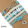 (10 Pieces/Lot) Infinity Love Mom Baby Feet Charm Wrap Multilayer Bracelet Baby Blue Purple White Leather Mother Child Jewelry