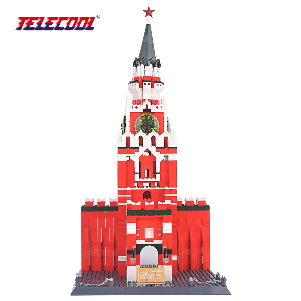 TELECOOL The Spasskaya Tower Of Moscow Kremlin Building Block 1048pcs World's Great Architecture Series Toys Gift heart of moscow значок металлический снежинка