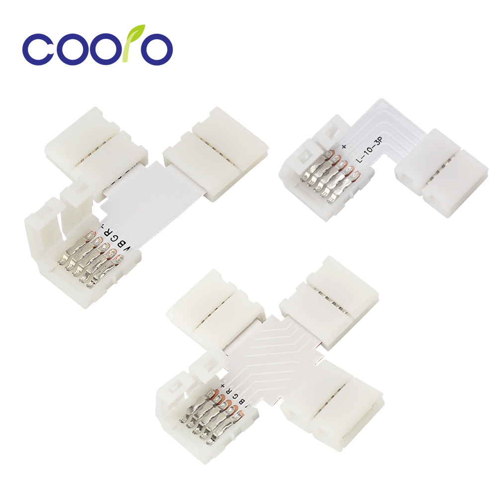 5pcs/lot 4 Pin 2 Pin 3 Pin 5 Pin LED Connector L Shape T Shape X Shape For Connecting Corner Right Angle LED Strip Light
