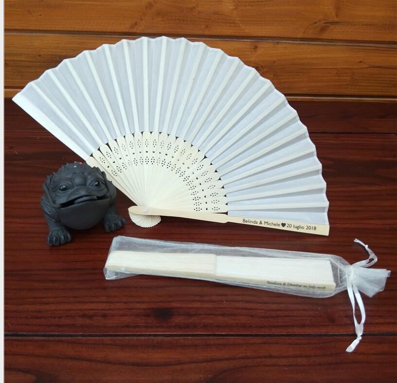 Free shipping 100 pcs lot Elegant White Folding Silk Hand Fan with Organza  Gift bag 0137fb498dcb