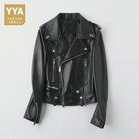 Boyfriend Motor Biker 100% Genuine Leather Jacket Women Casual Fit Chaqueta Mujer Top Brand Punk Lapel Collar Zipper Female Coat