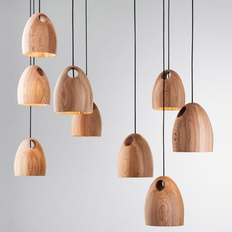 Modern wooden hanging lamp suspension fixture home kitchen for Dining room hanging light