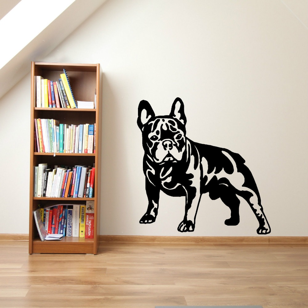 cutom color french bulldog dog vinyl wall art sticker decal living room sticker muraux animal. Black Bedroom Furniture Sets. Home Design Ideas