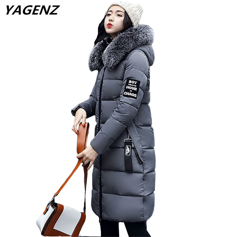 New Winter Women Down Cotton Long Coat Fashion Hooded Fur Collar Casual Tops Solid color Plus Size Student Clothing YAGENZ A810 100% white duck down women coat fashion solid hooded fox fur detachable collar winter coats elegant long down coats