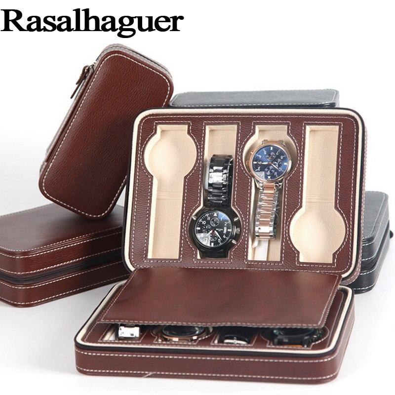 Top qualité 8 grilles en cuir montre boîte de luxe Zipper style pour voyager stockage bijoux montre collecteur cas boîte organisateur
