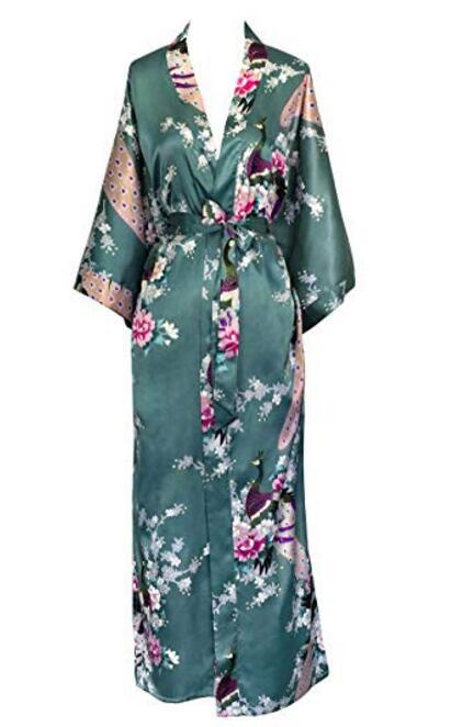 Brand New Wedding Bride Bridesmaid Robe Satin Rayon Bathrobe Nightgown For Women Kimono Sleepwear Flower Plus Size S XXXL S02D