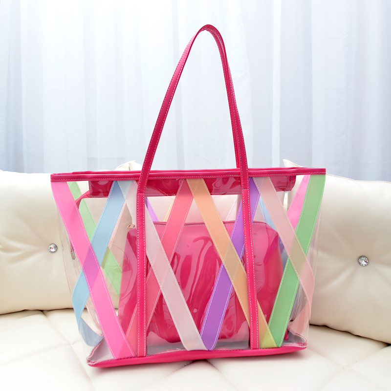Online Shop 2014 summer beach bag transparent big bags rainbow ...