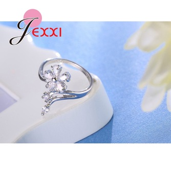 Original 925 Sterling Silver Jewelry for Women Wedding Bride Exquisite Flower Rings AAA+ Cubic Zirconia Female Bague 1