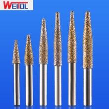 Weitol 1 шт. 12 мм вакуумной пайки камень резак биты конус инструменты для гравировки с ЧПУ Фрезерный резак мрамор фрезы