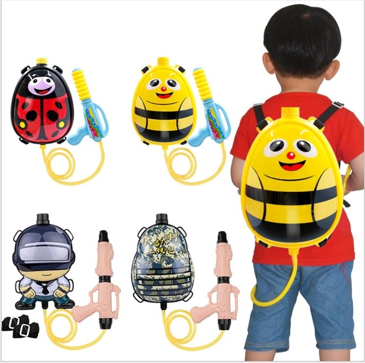 Cartoon Children's Water Gun Large Capacity Pull Storage Bag Water Gun Sprayer Children Summer Water Party Toys
