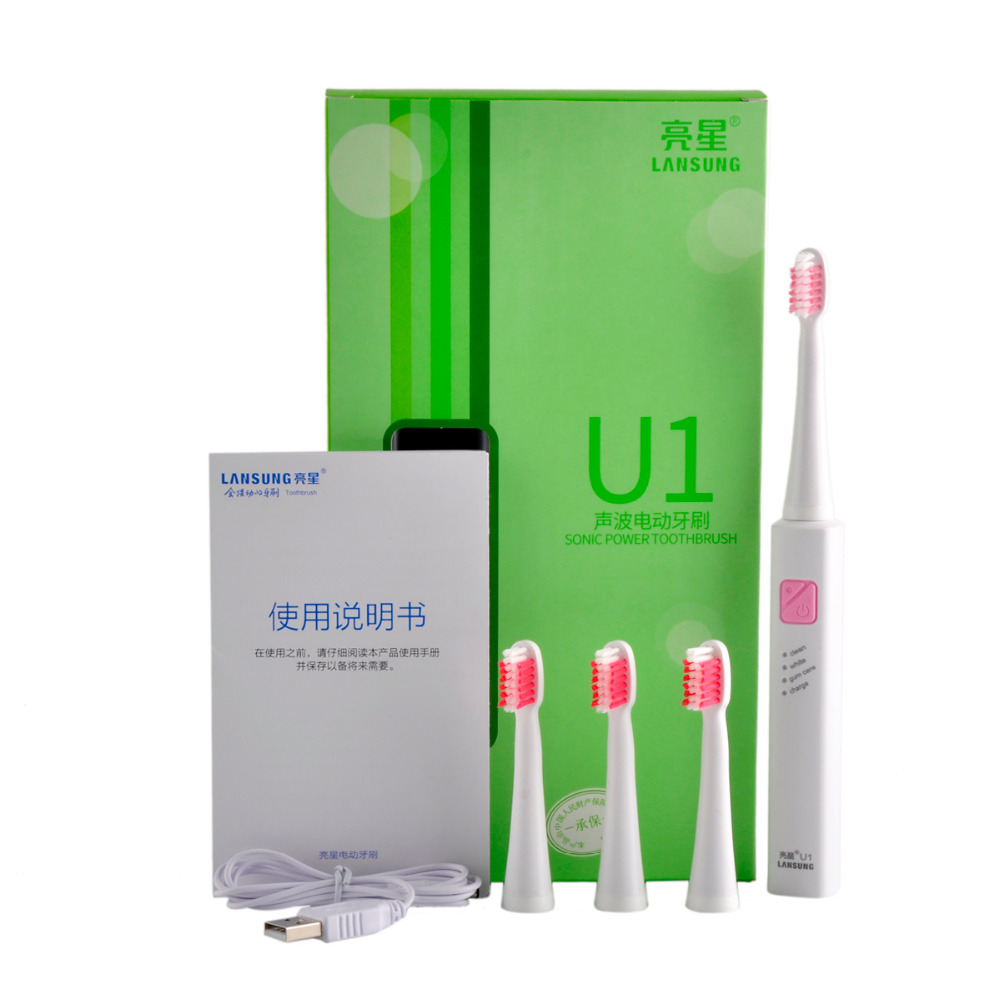 LANSUNG U1 Trasonic Sonic Electric Toothbrush Rechargeable Tooth Brushes With 4 Pcs Replacement Heads U1 Brand Quality