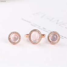 wholesale fashionable cute romantic rose gold 925 sterling silver natural pink crystal  earring ring jewelry set