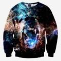 Casual hoodies for men/women 3d sweatshirts print Ferocious dog sharp teeth animals slim galaxy hoodies