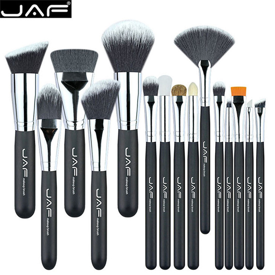 JAF 15Pcs Pro Black Handle Makeup Brushes Set Beauty Cosmetic Eye Shadow Foundation Blush Lip Makeup Brushes Tool High Quality