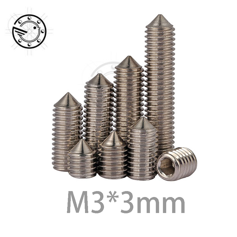 все цены на  100Pcs M3 Stainless Steel Allen Head Hex Socket Grub Screw Bolts Nuts Fasteners with Cone Point Screws M3*3 mm m3x3mm  онлайн