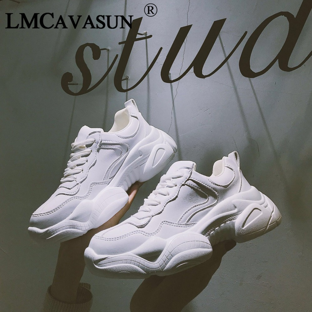 LMCAVASUN New Women's Chunky Sneakers Women Casual Platform Shoes Canvas Female Trainers Dad Shoes High Top Sneakers