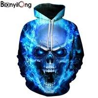 New Blue Flame Skull Hoodies 3D Sweatshirts Men Women Hooded Loose Tracksuits Autumn Winter Coat Streetwear