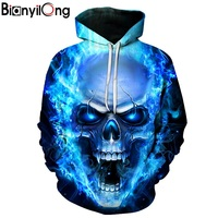 New Blue Flame Skull Hoodies 3D Sweatshirts Men Women Hooded Loose Tracksuits Autumn Winter Coat Streetwear