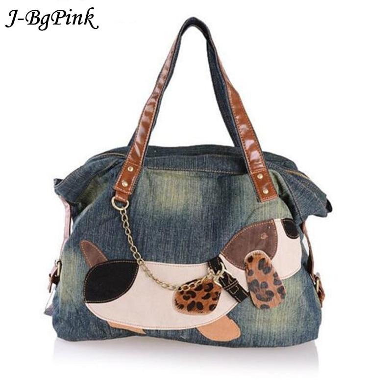 Handbag High Quality Denim Fabric Fashion Shoulder Women Bag Free Shipping Puppy Pattern Business Travel Casual Bag Women  цена и фото