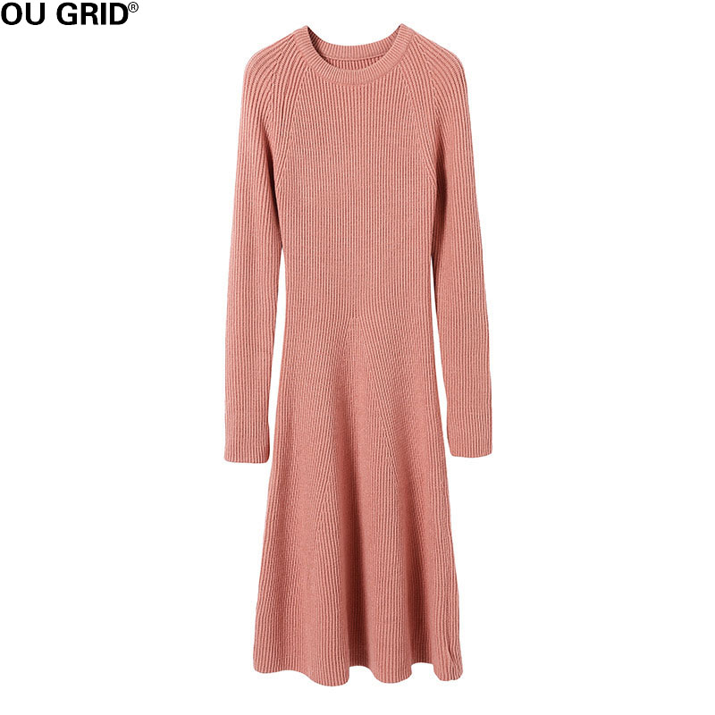 Winter Thick Sweater Dress Women Slim A-line Warm Rose Red O-neck Long Sleeve Bottom Elegant Casual Knitted Dresses женское платье red long dress a line lantern sleeve 2015 lyd0352