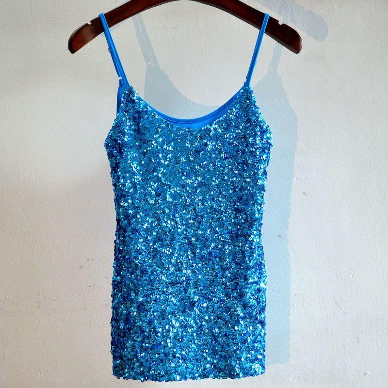 MUXU blue sequin top summer tank top women clothing glitter haut femme streetwear sleeveless bustier cropped woman halter top