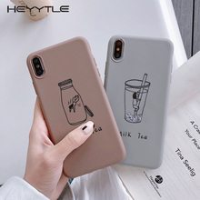 Heyytle Cartoon Fruit Pattern Case For iPhone 8 7 Plus 6 6s Cover Ultra Thin Milk Tea X XS MAX XR Couple Fundas