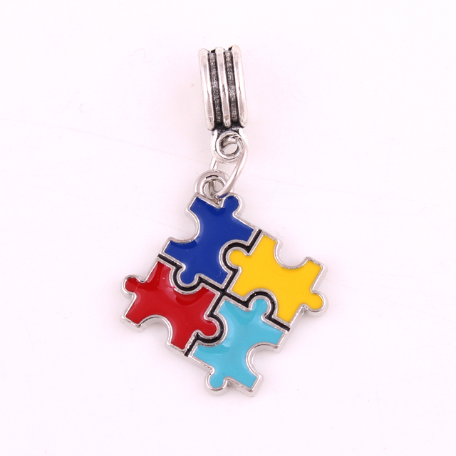 Autism Awareness Hot Pendant Charm Puzzle Piece Dangle Jigsaw Beads Charms Fit Fashion Bracelet Or