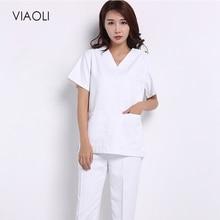 Viaoli хлопковая медицинская одежда хирургические ткани медицинские скрабы для ухода за зубами Униформа Хирургическая Одежда Рубашки для женщин мужчин просто Топ